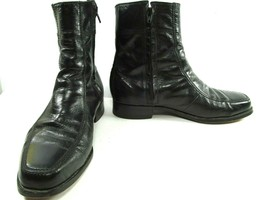 Florsheim Mens Black Leather Side Zip Apron Toe Ankle Boots Size US 9.5 EEE - $48.51