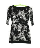 White House Black Market Shift Dress Size S Small Black White Floral Str... - $39.35