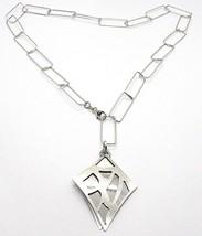 Collar Plata 925 ,Cadena Rectangular, Doble Rombo Sobrebarnizado, Satinado image 1