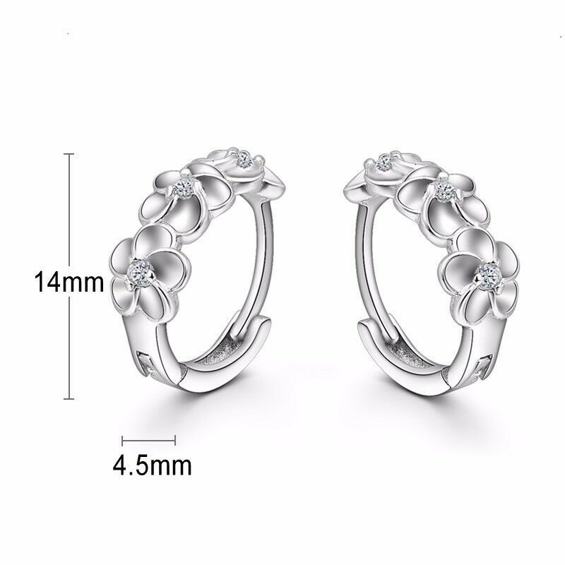925 Sterling Silver earring CZ Cubic Zirconia clear crystal DLE56
