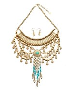 Stunning Turquoise and Gold-Tone Statement Fashion Necklace and Earring Set - £27.21 GBP