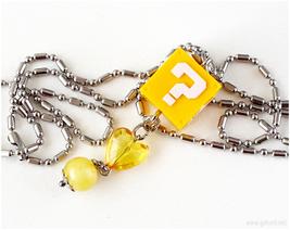 Super Mario Question Block Charm Necklace, Yellow, Silver - $14.00