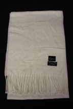 CEJON White Fringe Scarf, 100% Acrylic, Made In Italy, 64 x 11 - $15.00