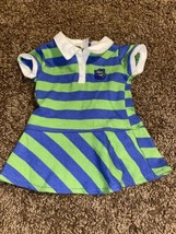 American Girl Lanie Meet Outfit Dress Only Green Blue Striped Retired Ag - $19.79