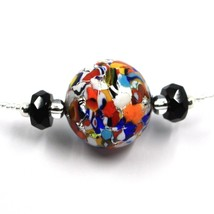 NECKLACE MACULATE MULTI COLOR MURANO GLASS BIG SPHERE, SILVER LEAF, ITALY MADE image 2