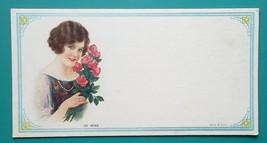 PINUP GIRL Brunette Beauty Red Roses Bouquet - Est 1920s INK BLOTTER - $8.55