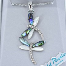 Storrs Wild Pearle Abalone Shell Dragonfly Dance Pendant & Silver Tone Necklace image 2