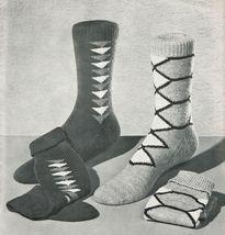 1950's Mens Swordfish Knotty Pines Norman Keep Diamond Plain Knit Socks Pattern - $13.99