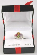Size 8 Sterling Silver Multi Flower Cubic Zirconia Cluster Ring New w Tags image 2