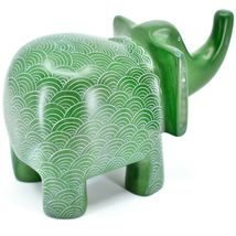 Vaneal Group Hand Crafted Carved Soapstone Large Heavy Green Elephant Sculpture image 4