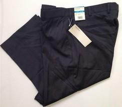 PERRY ELLIS Size 36 X 34 MENS PANTS Charcoal Heather Stripe FLAT FRONT D... - $46.74