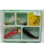 6pcs Assorted Feather Fishing Jig Lures Black/Red/Yellow/White & Box New... - $9.89