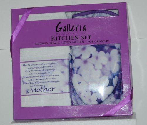 Galleria Enterprises 8919106 3 Piece Purple Kitchen Set Mother Towel Mit Grabber