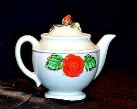 Ceramic TeaPot Japan Grey Pot with Yellow and Orange Flowers AB 535-B Vintage image 2