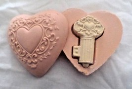 E66 AVON KEY-TO-MY-HEART bar soap: 2 piece pink heart opens to reveal iv... - $6.92