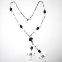 Necklace Silver 925, Onyx Black Tube, Double cross Pendant, Chain Oval image 2