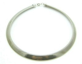 Pcraft Thick Omega Chain Silver Tone Necklace Vintage 1960s - $16.82