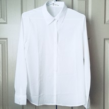 New Fashion Women Top Size XL Semi Sheer Long Sleeve White Career Shirt Blouse - $11.40