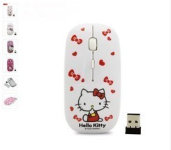 Wireless Mouse Girls Cartoon 2.4Ghz Kitty Computer Gaming Mice with USB ... - $11.78