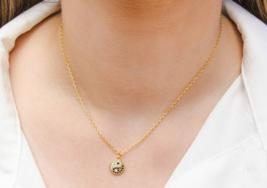 Gold Tiny Mini Yin and Yang Necklace, Yin Yang Necklace,Yin Yang Charm N... - $52.00