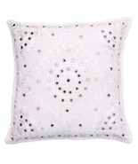 "16"" Handmade Mirror Work Sofa Couch Throw Pillow Cushion Cover White - $9.89"