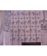 Cynthia Rowley Henna Elephants Gray on White Shower Curtain - $41.00