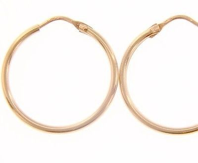 18K ROSE GOLD ROUND CIRCLE EARRINGS DIAMETER 20 MM WIDTH 1.7 MM, MADE IN ITALY
