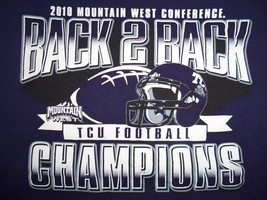 NCAA TCU Horned Frogs 2010 Mountain West Conf. Champs Graphic Print T Shirt L - $15.90