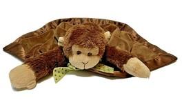 Bearington Baby Giggles Snuggler Plush Brown Monkey Satin Security Blank... - $26.46