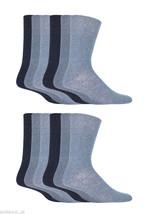 12 Pairs Mens Gentle Grip Socks Size 6-11 Uk, 39-45 Eur MGG102 Plain Blues - $17.14