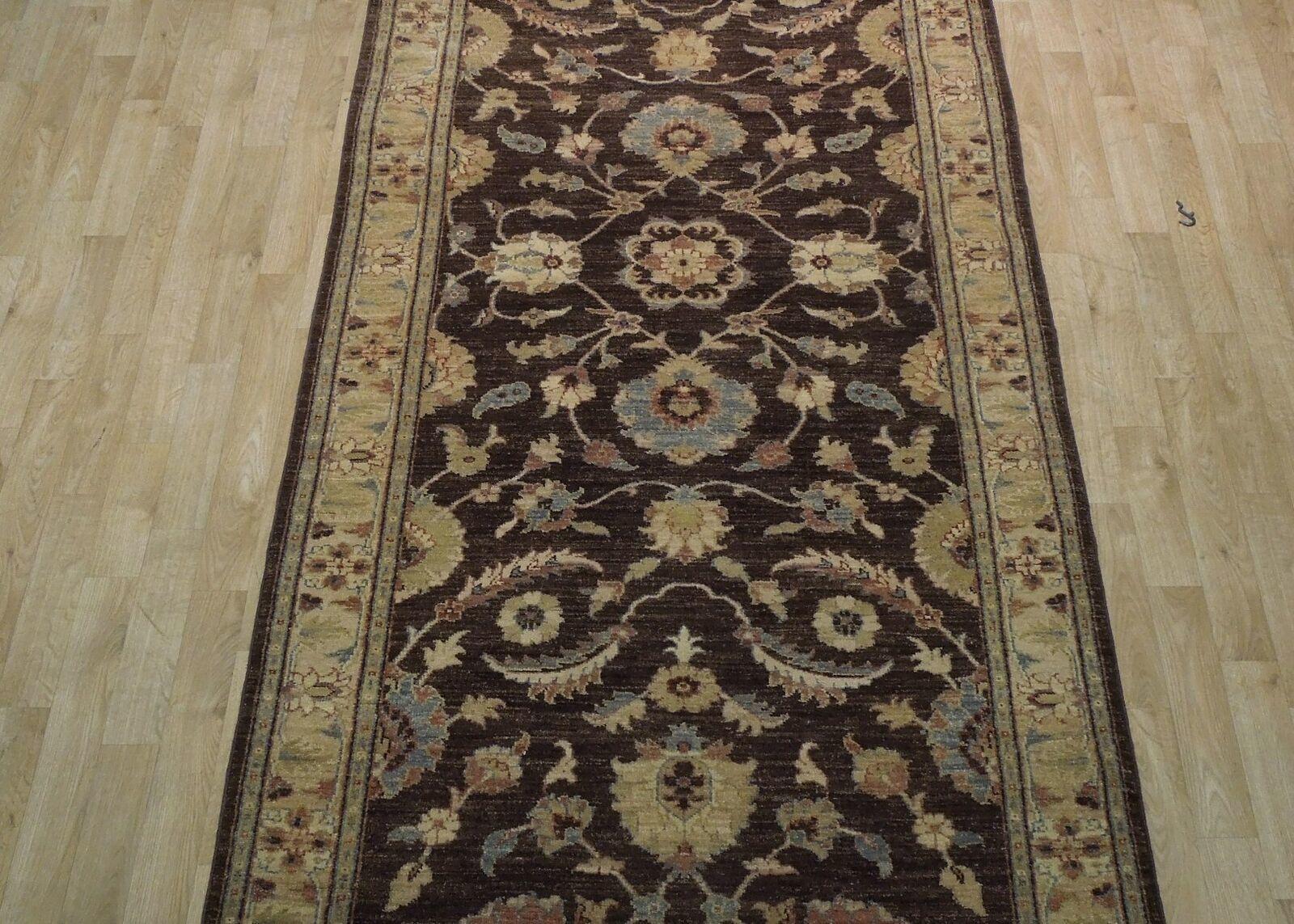 Chobi Peshawar Chocolate Antiqued Handmade 4' x 10' Brown Oushak Wool Rug image 12