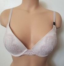 New Victorias Secret Dream Angels Ivory Off White Lace Overlay Push Up Bra 32DD - $28.04