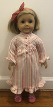 "Pleasant Company American Girl Kit 18"" Doll w/ Striped Nightie Slippers Headband - $63.11"