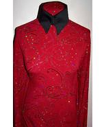 Scarlet Glitter Swirl and Hologram Sequin Dot Lycra Stretch Fabric 1 yar... - $40.00