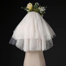 Ivory Shoulder Length Wedding Bridal Veils Layer Floral Lace Tulle Bridal Veils  image 5
