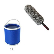 Set of 2 Cleaning Supplies Retractable Car Duster & Folding Bucket (1L)