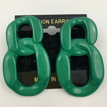 Vintage Big Funky Chunky Green Plastic Earrings Statement Large NOS 80s 90s - $11.10