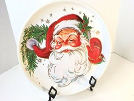 Vtg Santa Christmas jolly face plastic cookie Serving tray Plate MCM Sta... - $9.80