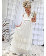 Cute V Neck White Flower Girl Dresses for Wedding - $79.99+