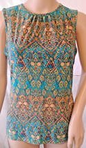 CHAPS Knit Top Size Medium Sleeveless Teal Blue Gold Print Tank  - $14.99