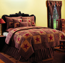 Olivia's Heartland Vintage Star Wine & Tan hand quilted country primitive QUILT - $209.95+