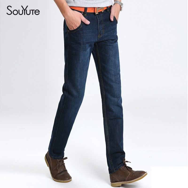 New 2018 Thin Jeans Pants Men's Jeans Men Trousers Straight Business Casual Styl