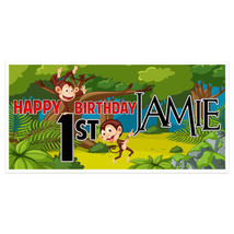 Monkey First Birthday Banner Personalized Backdrop - $22.28+