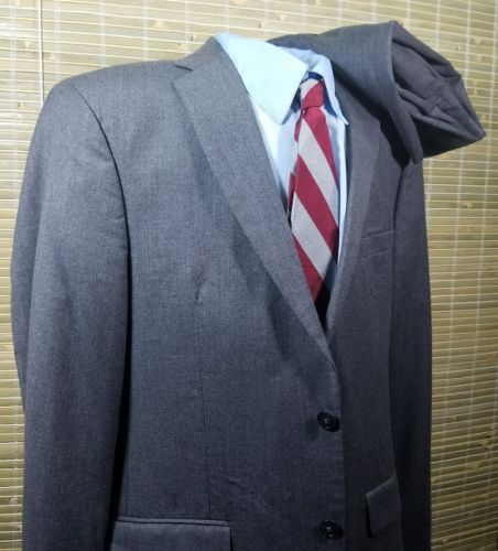 Jos A. Bank Mens Slim Fit 2 buttons Gray Wool/Cashmere 40R, Flat Front 34x28