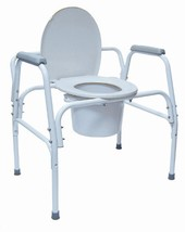 Duro-Med Bariatric Steel Commode with Assist Bars, Gray