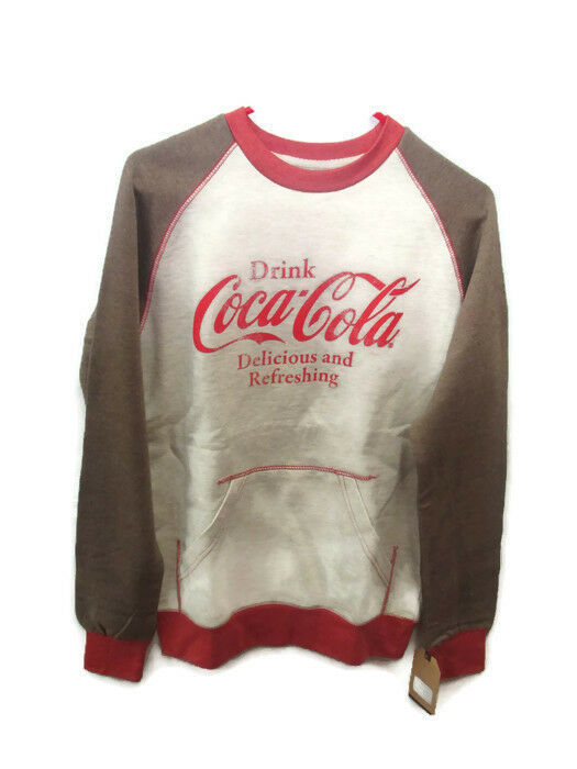 Primary image for Coca-Cola Kangaroo-Pocket Sweatshirt Rust and Oatmeal  Small- BRAND NEW