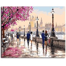Paint By Number Kit Europe City River Street People DIY Picture 16x20in ... - $10.99