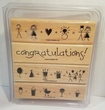 Stampin Up It All Adds Up Wooden Stamp Set of 4 engagement wedding baby 2005 - $17.33