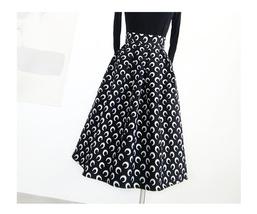 Women Black Pleated Skirt High Waist Black Party Skirt Pleated Long Skirt Plus image 2
