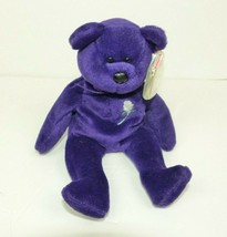 1997 Princess Diana Ty Beanie Baby Purple Bear Plush White Rose Tag in Case - $23.33